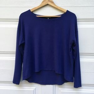 Eileen Fisher Top Petite M Long Sleeve Blue Hi-Lo